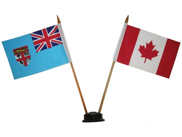 """FIJI & CANADA SMALL 4"""" X 6"""" INCHES MINI DOUBLE COUNTRY STICK FLAG BANNER ON A 10 INCHES PLASTIC POLE .. NEW AND IN A PACKAGE"""