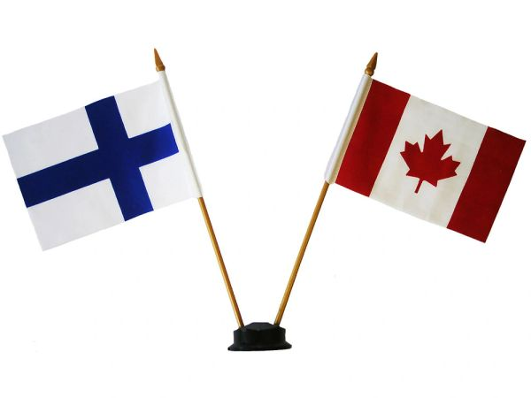 "FINLAND & CANADA SMALL 4"" X 6"" INCHES MINI DOUBLE COUNTRY STICK FLAG BANNER ON A 10 INCHES PLASTIC POLE .. NEW AND IN A PACKAGE"