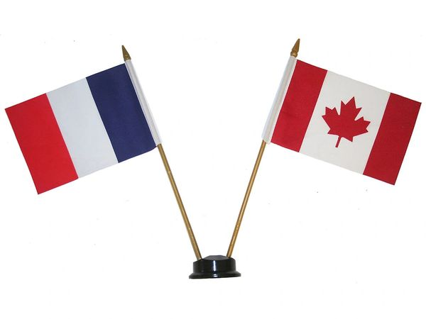"FRANCE & CANADA SMALL 4"" X 6"" INCHES MINI DOUBLE COUNTRY STICK FLAG BANNER ON A 10 INCHES PLASTIC POLE .. NEW AND IN A PACKAGE"