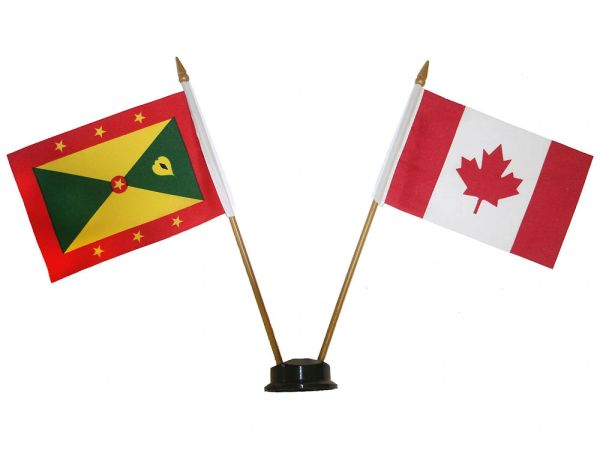 "GRENADA & CANADA SMALL 4"" X 6"" INCHES MINI DOUBLE COUNTRY STICK FLAG BANNER ON A 10 INCHES PLASTIC POLE .. NEW AND IN A PACKAGE"