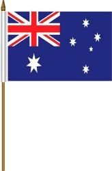 "AUSTRALIA 4"" X 6"" INCHES MINI COUNTRY STICK FLAG BANNER ON A 10 INCHES PLASTIC POLE .. NEW AND IN A PACKAGE"