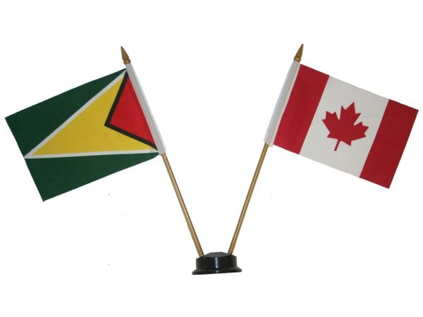"""GUYANA & CANADA SMALL 4"""" X 6"""" INCHES MINI DOUBLE COUNTRY STICK FLAG BANNER ON A 10 INCHES PLASTIC POLE .. NEW AND IN A PACKAGE"""