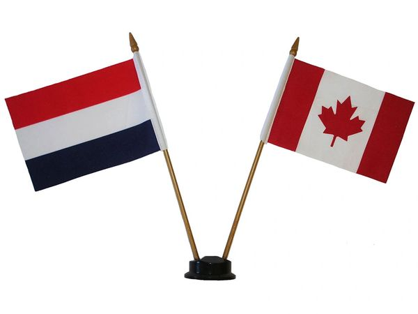 "HOLLAND & CANADA SMALL 4"" X 6"" INCHES MINI DOUBLE COUNTRY STICK FLAG BANNER ON A 10 INCHES PLASTIC POLE .. NEW AND IN A PACKAGE"