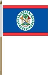 "BELIZE 4"" X 6"" INCHES MINI COUNTRY STICK FLAG BANNER ON A 10 INCHES PLASTIC POLE .. NEW AND IN A PACKAGE."