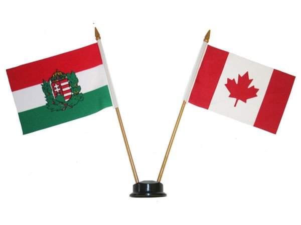 """HUNGARY & CANADA SMALL 4"""" X 6"""" INCHES MINI DOUBLE COUNTRY STICK FLAG BANNER ON A 10 INCHES PLASTIC POLE .. NEW AND IN A PACKAGE"""