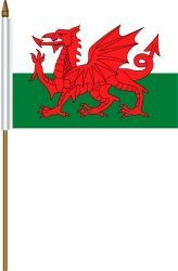 """WALES 4"""" X 6"""" INCHES MINI COUNTRY STICK FLAG BANNER ON A 10 INCHES PLASTIC POLE .. NEW AND IN A PACKAGE."""