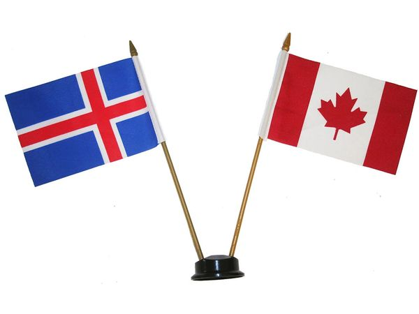 "ICELAND & CANADA SMALL 4"" X 6"" INCHES MINI DOUBLE COUNTRY STICK FLAG BANNER ON A 10 INCHES PLASTIC POLE .. NEW AND IN A PACKAGE"
