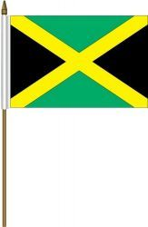"JAMAICA 4"" X 6"" INCHES MINI COUNTRY STICK FLAG BANNER ON A 10 INCHES PLASTIC POLE .. NEW AND IN A PACKAGE."