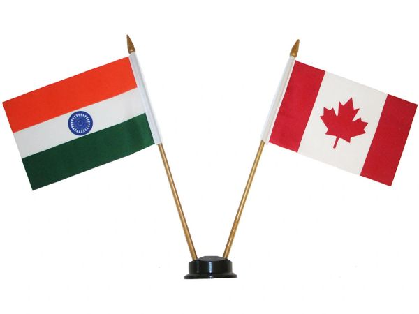 "INDIA & CANADA SMALL 4"" X 6"" INCHES MINI DOUBLE COUNTRY STICK FLAG BANNER ON A 10 INCHES PLASTIC POLE .. NEW AND IN A PACKAGE"