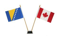 """BOSNIA - HERZEGOVINA & CANADA SMALL 4"""" X 6"""" INCHES MINI DOUBLE COUNTRY STICK FLAG BANNER ON A 10 INCHES PLASTIC POLE .. NEW AND IN A PACKAGE"""