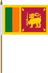 """SRI LANKA 4"""" X 6"""" INCHES MINI COUNTRY STICK FLAG BANNER ON A 10 INCHES PLASTIC POLE .. NEW AND IN A PACKAGE."""