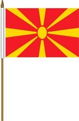 "MACEDONIA 4"" X 6"" INCHES MINI COUNTRY STICK FLAG BANNER ON A 10 INCHES PLASTIC POLE .. NEW AND IN A PACKAGE."