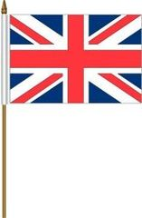 "UNITED KINGDOM 4"" X 6"" INCHES MINI COUNTRY STICK FLAG BANNER ON A 10 INCHES PLASTIC POLE .. NEW AND IN A PACKAGE."
