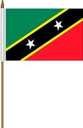 "ST. KITTS & NEVIS 4"" X 6"" INCHES MINI COUNTRY STICK FLAG BANNER ON A 10 INCHES PLASTIC POLE .. NEW AND IN A PACKAGE."
