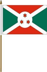 "BURUNDI 4"" X 6"" INCHES MINI COUNTRY STICK FLAG BANNER ON A 10 INCHES PLASTIC POLE .. NEW AND IN A PACKAGE."
