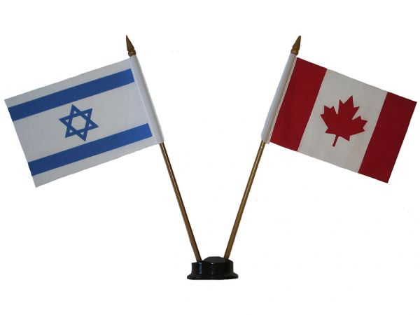 """ISRAEL & CANADA SMALL 4"""" X 6"""" INCHES MINI DOUBLE COUNTRY STICK FLAG BANNER ON A 10 INCHES PLASTIC POLE .. NEW AND IN A PACKAGE"""