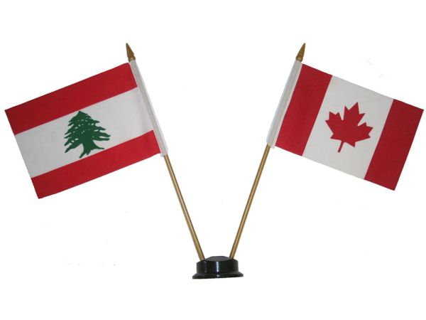 """LEBANON & CANADA SMALL 4"""" X 6"""" INCHES MINI DOUBLE COUNTRY STICK FLAG BANNER ON A 10 INCHES PLASTIC POLE .. NEW AND IN A PACKAGE"""