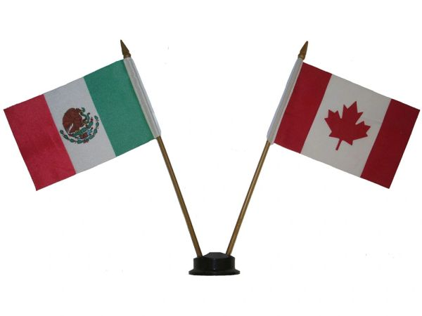 """MEXICO & CANADA SMALL 4"""" X 6"""" INCHES MINI DOUBLE COUNTRY STICK FLAG BANNER ON A 10 INCHES PLASTIC POLE .. NEW AND IN A PACKAGE"""