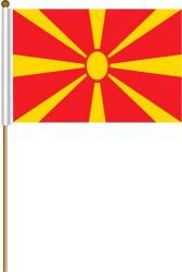 "MACEDONIA LARGE 12"" X 18"" INCHES COUNTRY STICK FLAG ON 2 FOOT WOODEN STICK .. NEW AND IN A PACKAGE."