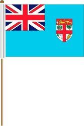 """FIJI LARGE 12"""" X 18"""" INCHES COUNTRY STICK FLAG ON 2 FOOT WOODEN STICK .. NEW AND IN A PACKAGE."""
