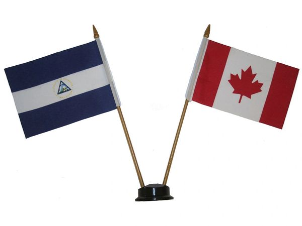 "NICARAGUA & CANADA SMALL 4"" X 6"" INCHES MINI DOUBLE COUNTRY STICK FLAG BANNER ON A 10 INCHES PLASTIC POLE .. NEW AND IN A PACKAGE"
