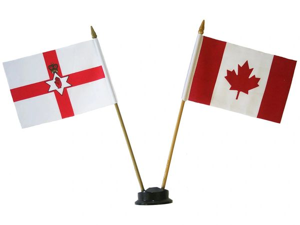 "NORTHERN IRELAND & CANADA SMALL 4"" X 6"" INCHES MINI DOUBLE COUNTRY STICK FLAG BANNER ON A 10 INCHES PLASTIC POLE .. NEW AND IN A PACKAGE"