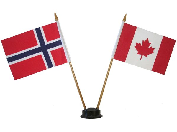 "NORWAY & CANADA SMALL 4"" X 6"" INCHES MINI DOUBLE COUNTRY STICK FLAG BANNER ON A 10 INCHES PLASTIC POLE .. NEW AND IN A PACKAGE"