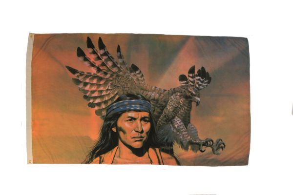NATIVE CHIEF WITH EAGLE 3' X 5' FEET PICTURE FLAG BANNER .. NEW AND IN A PACKAGE
