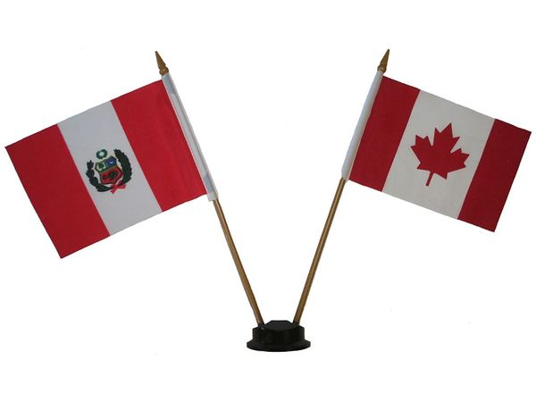 "PERU & CANADA SMALL 4"" X 6"" INCHES MINI DOUBLE COUNTRY STICK FLAG BANNER ON A 10 INCHES PLASTIC POLE .. NEW AND IN A PACKAGE"