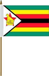 "ZIMBABWE 4"" X 6"" INCHES MINI COUNTRY STICK FLAG BANNER ON A 10 INCHES PLASTIC POLE .. NEW AND IN A PACKAGE."