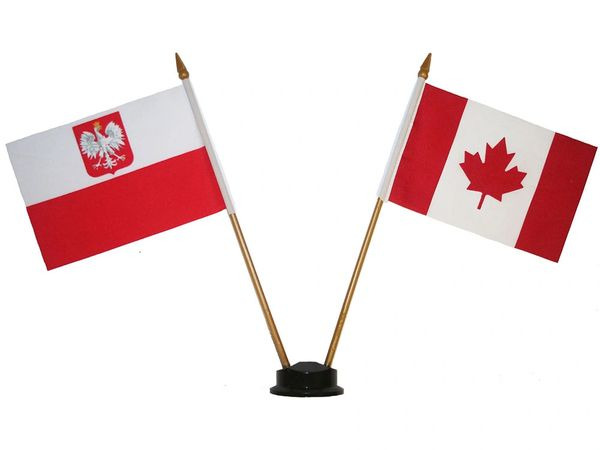 "POLAND WITH EAGLE & CANADA SMALL 4"" X 6"" INCHES MINI DOUBLE COUNTRY STICK FLAG BANNER ON A 10 INCHES PLASTIC POLE .. NEW AND IN A PACKAGE"