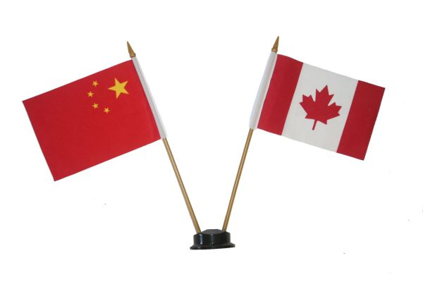 "CHINA & CANADA SMALL 4"" X 6"" INCHES MINI DOUBLE COUNTRY STICK FLAG BANNER ON A 10 INCHES PLASTIC POLE .. NEW AND IN A PACKAGE"