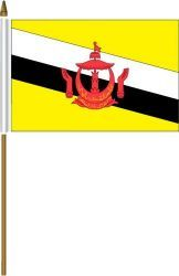 "BRUNEI 4"" X 6"" INCHES MINI COUNTRY STICK FLAG BANNER ON A 10 INCHES PLASTIC POLE .. NEW AND IN A PACKAGE."