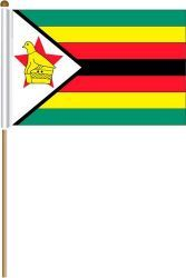 "ZIMBABWE LARGE 12"" X 18"" INCHES COUNTRY STICK FLAG ON 2 FOOT WOODEN STICK .. NEW AND IN A PACKAGE"