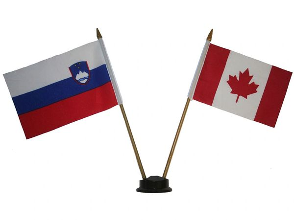 "SLOVENIA & CANADA SMALL 4"" X 6"" INCHES MINI DOUBLE COUNTRY STICK FLAG BANNER ON A 10 INCHES PLASTIC POLE .. NEW AND IN A PACKAGE"