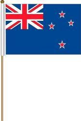 "NEW ZEALAND LARGE 12"" X 18"" INCHES COUNTRY STICK FLAG ON 2 FOOT WOODEN STICK .. NEW AND IN A PACKAGE"