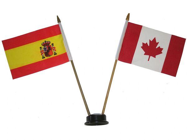 """SPAIN & CANADA SMALL 4"""" X 6"""" INCHES MINI DOUBLE COUNTRY STICK FLAG BANNER ON A 10 INCHES PLASTIC POLE .. NEW AND IN A PACKAGE"""