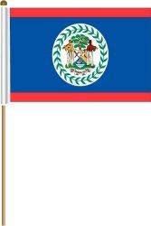 "BELIZE LARGE 12"" X 18"" INCHES COUNTRY STICK FLAG ON 2 FOOT WOODEN STICK .. NEW AND IN A PACKAGE"
