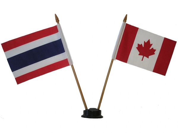 """THAILAND & CANADA SMALL 4"""" X 6"""" INCHES MINI DOUBLE COUNTRY STICK FLAG BANNER ON A 10 INCHES PLASTIC POLE .. NEW AND IN A PACKAGE"""