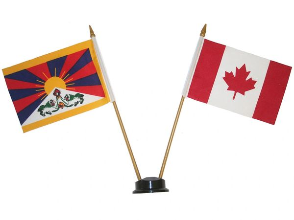 "TIBET & CANADA SMALL 4"" X 6"" INCHES MINI DOUBLE COUNTRY STICK FLAG BANNER ON A 10 INCHES PLASTIC POLE .. NEW AND IN A PACKAGE"