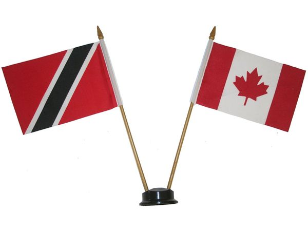 "TRINIDAD AND TOBAGO & CANADA SMALL 4"" X 6"" INCHES MINI DOUBLE COUNTRY STICK FLAG BANNER ON A 10 INCHES PLASTIC POLE .. NEW AND IN A PACKAGE"