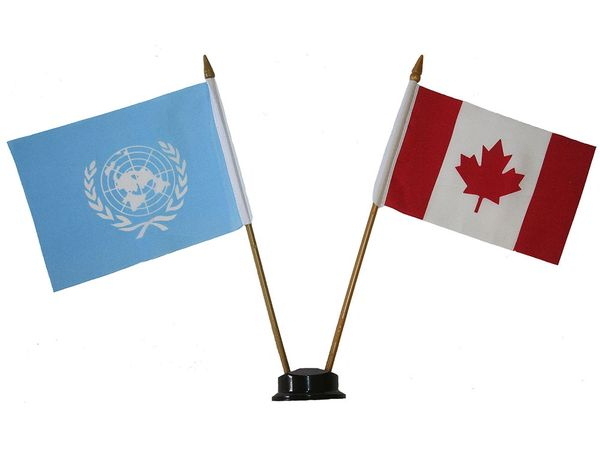 """UNITED NATIONS & CANADA SMALL 4"""" X 6"""" INCHES MINI DOUBLE COUNTRY STICK FLAG BANNER ON A 10 INCHES PLASTIC POLE .. NEW AND IN A PACKAGE"""