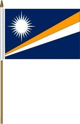 """MARSHALL ISLANDS 4"""" X 6"""" INCHES MINI COUNTRY STICK FLAG BANNER ON A 10 INCHES PLASTIC POLE .. NEW AND IN A PACKAGE."""