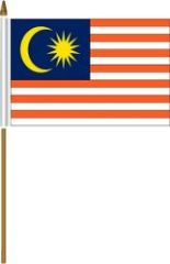 """MALAYSIA 4"""" X 6"""" INCHES MINI COUNTRY STICK FLAG BANNER ON A 10 INCHES PLASTIC POLE .. NEW AND IN A PACKAGE."""