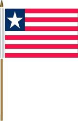 "LIBERIA 4"" X 6"" INCHES MINI COUNTRY STICK FLAG BANNER ON A 10 INCHES PLASTIC POLE .. NEW AND IN A PACKAGE."