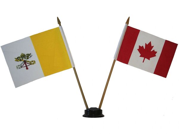"VATICAN & CANADA SMALL 4"" X 6"" INCHES MINI DOUBLE COUNTRY STICK FLAG BANNER ON A 10 INCHES PLASTIC POLE .. NEW AND IN A PACKAGE"