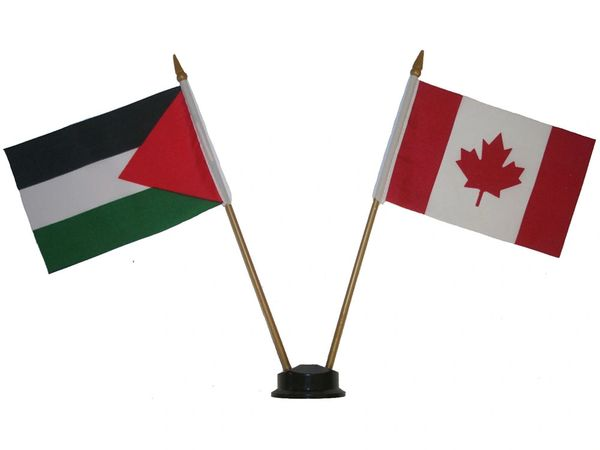 "SUDAN & CANADA SMALL 4"" X 6"" INCHES MINI DOUBLE COUNTRY STICK FLAG BANNER ON A 10 INCHES PLASTIC POLE .. NEW AND IN A PACKAGE"