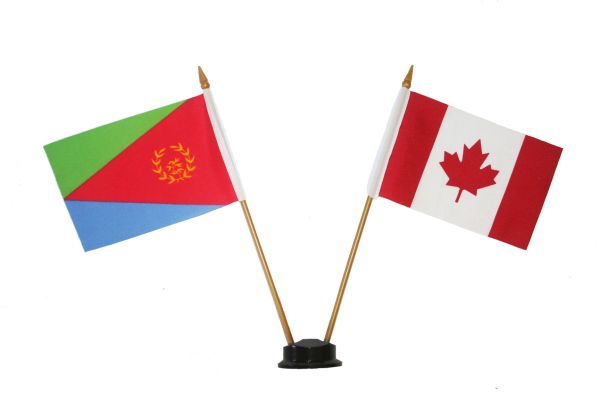 "ERITREA & CANADA SMALL 4"" X 6"" INCHES MINI DOUBLE COUNTRY STICK FLAG BANNER ON A 10 INCHES PLASTIC POLE .. NEW AND IN A PACKAGE"