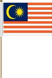 "MALAYSIA LARGE 12"" X 18"" INCHES COUNTRY STICK FLAG ON 2 FOOT WOODEN STICK .. NEW AND IN A PACKAGE."