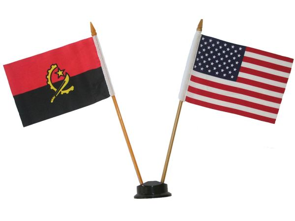 "ANGOLA & USA SMALL 4"" X 6"" INCHES MINI DOUBLE COUNTRY STICK FLAG BANNER ON A 10 INCHES PLASTIC POLE .. NEW AND IN A PACKAGE"